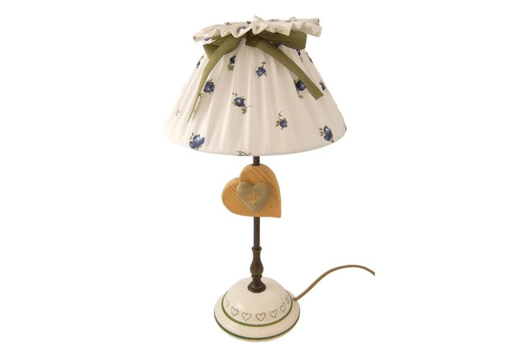 Lampada da tavolo con cuore in ceramica su cuore di legno