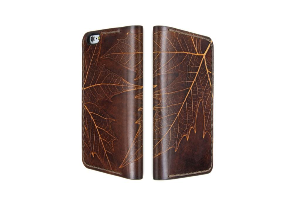 Cover a libro in pelle modello Foglia per iPhone 12 (mini, Pro e Pro Max) - Foglia