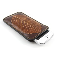 Custodia in pelle per iPhone 5/5s con foglia