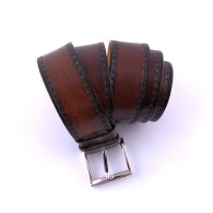 Cintura artigianale in pelle marrone con Edelweiss