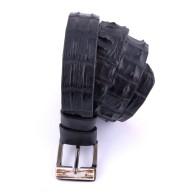 Cintura artigianale in pelle di coccodrillo nera