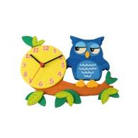 Orologio da parete per bambini - Gufo blu su ramo