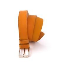 Cintura artigianale in pelle color senape con decoro