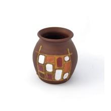 Vaso in ceramica con decoro moderno a quadri