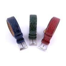 Cintura artigianale in pelle di coccodrillo tinto