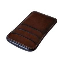 Custodia in pelle per iPhone 7/7 Plus tre tasche - Marrone
