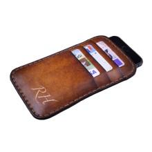 Custodia in pelle per iPhone 8/8 Plus tre tasche - Marrone chiaro