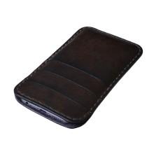Custodia in pelle per iPhone X tre tasche - Marrone Scuro