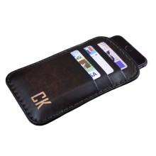 Custodia in pelle per iPhone 8/8 Plus tre tasche - Marrone Scuro