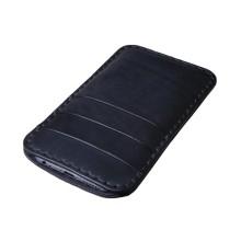 Custodia in pelle per iPhone X tre tasche - Nero