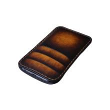 Custodia in pelle per iPhone X tre tasche - Marrone Sfumato