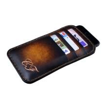 Custodia in pelle per iPhone 8/8 Plus tre tasche - Marrone Sfumato