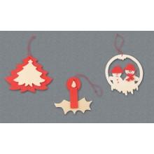 Decorazioni per albero - Albero, candela e pupazzi di neve