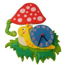Orologio da parete per bambini - Fungo con lumaca e bruco