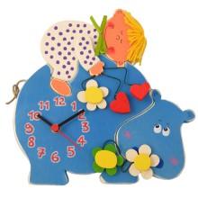 Orologio da parete per bambini - Ippopotamo con bimbo o bimba