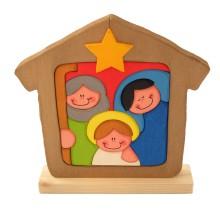 Presepe in legno da appendere: sacra famiglia dipinta a mano
