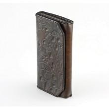 Portafoglio donna personalizzabile in pelle con portamonete - Fiore