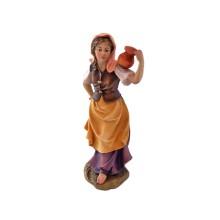Statuina in legno presepe: Pastorella con brocca