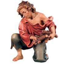 Statuina in legno presepe: Pastore con legna