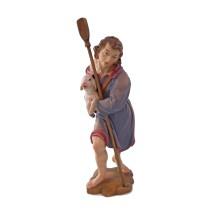 Statuina in legno presepe: Pastore con agnello