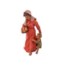 Statuina in legno presepe: Pastorella con bambino