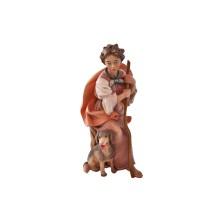 Statuina in legno presepe: Pastorella con cane