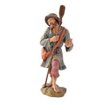 Statuina in legno presepe: Pastore con pala