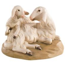 Statuina in legno presepe: Pecora ed agnello